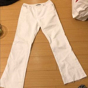 High waisted white flare pants